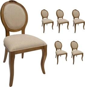 Jogo 6 Cadeiras Medalhão Lille - Freijó - Tecido Linho Doré Clássico Kleiner Schein