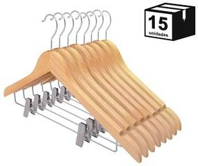 Kit 15 Cabides De Madeira Nobre Verniz Marfim com Presilha
