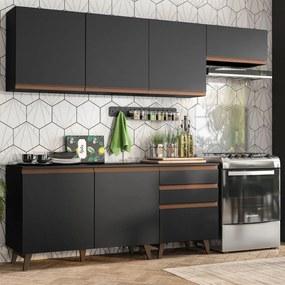 Cozinha Completa Madesa Reims 250002 com Armário e Balcão Preto Cor:Preto
