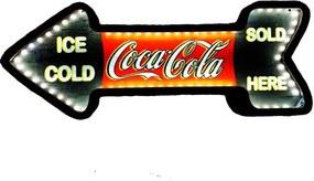 Placa Decorativa Mdf Com Led Seta Retrô Coca Cola