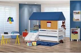 Bicama Infantil Prime com Grade de Proteção, Telhado Azul e Kit Escada/escorregador - CasaTema