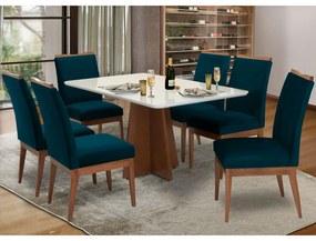 Conjunto Mesa Karina 1,60 m Off White + 6 Cadeiras Leticia Veludo Azul Marinho