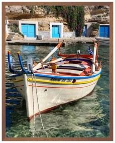 Quadro Decorativo Milos Foto Matte Barcos e Doca Branco e Azul - CZ 44094