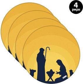 Sousplat Mdecore Natal Jesus 32x32cm Amarelo 4pçs