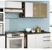 Cozinha Completa Modulada Melissa Amêndoa Branco em MDF 6 Módulos Nicioli