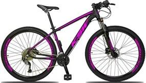 Bicicleta Aro 29 Quadro 15 Alumínio 27v Freio Disco Hidráulico XLT 2.0 Preto/Rosa - KSW