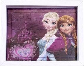 Porta retrato Minas de Presentes Quebra Cabeça Anna & Elsa Frozen 15X19cm - Disney Branco