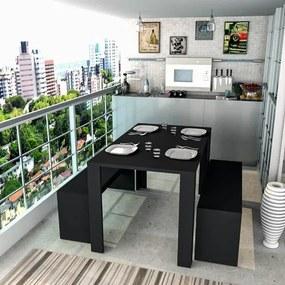 Mesa de Jantar Retangular Liv com 2 Bancos em MDP - Preto
