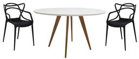 Conjunto Mesa Square Redonda Branco Fosco 80cm + 2 Cadeiras Allegra Preta