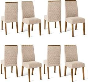 Conjunto 8 Cadeiras Cássia Rústico Malbec Tecido Linho Claro