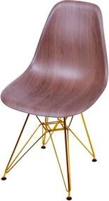 Cadeira Eames Polipropileno Amadeirado Escura Base Cobre - 46146 Sun House
