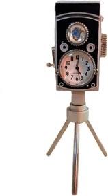 Relógio de Mesa Miniatura Máquina Fotográfica Tripé