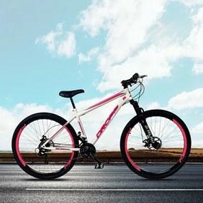 Bicicleta Aro 29 Quadro 19 Aço 21 Marchas Suspensão Freio a Disco Mecânico Branco/Rosa - Dropp
