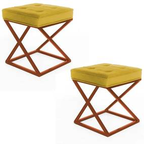 Kit 2 Puffs Decorativos Tokyo Quadrado Base de Ferro Bronze Suede Amarelo
