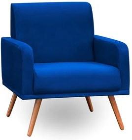 Poltrona Decorativa Pés Palito Carla Suede Azul Marinho - Mpozenato