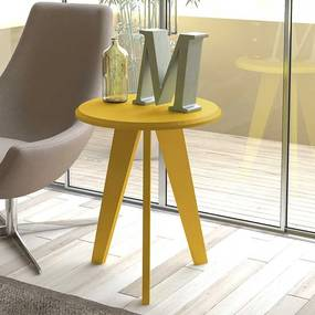 Mesa de Canto Greiz 100% MDF Retrô 54cm Amarelo