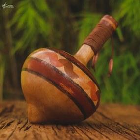 Pião de Madeira Rústico