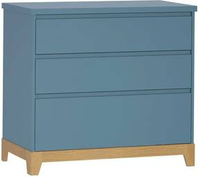 Cômoda Teca - 4 Gavetas - Azul Petrôleo - Euclar