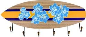 Cabideiro Kasa Ideia Prancha de Surf Flores 11x39cm
