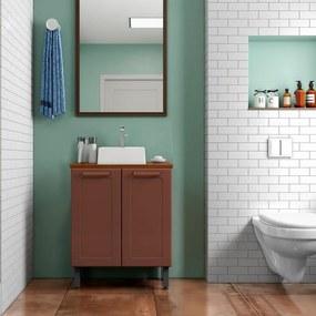 Gabinete Balcão de Banheiro de Aço 2 portas e cuba Terracota