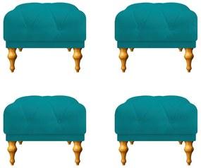 Kit 04 Puffs Decorativos Dani Suede Azul Turquesa - ADJ Decor