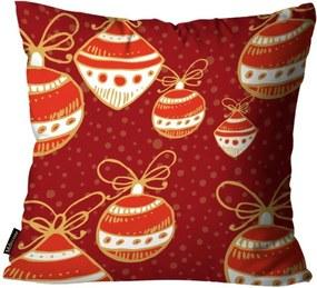 Almofada Mdecore Natal Bolas de Natal Vermelha 45x45cm