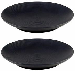 Jogo Prato Para Sobremesa 2 Peças Cerâmica Preto 19cm 27848 Bon Gourmet