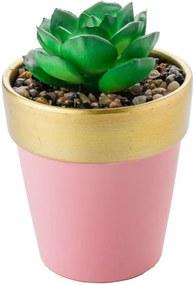 Vaso Decorativo 8x8 cm Mimo Rosa com Dourado - Wood Prime NR 33399