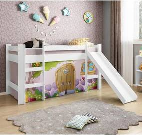Cama Infantil com Escorregador e Tenda Casinha de Pedra Rosa - Casatema