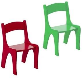 Kit 2 Cadeiras Infantis em MDF - Pintura em Laca Vermelho/ Verde