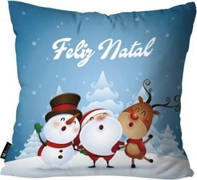 Capa para Almofada Mdecore Feliz Natal Azul 35x35