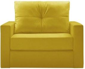 Sofá Cama Multi 1 Lugar 128cm Retrátil Suede Animale Amarelo - Gran Belo