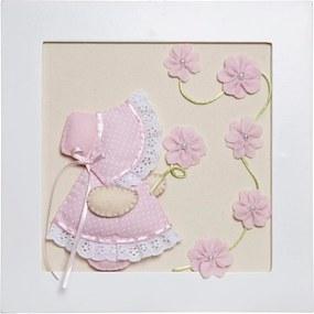 Quadro Decorativo Camponesa Flores Quarto Bebê Infantil Menina Potinho de Mel Rosa