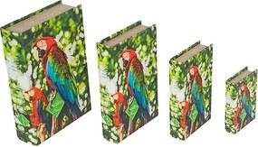 Caixa Livro com 4 Peças Arara Vermelha Amazônia