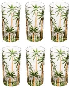 Jogo Copos Altos Cristal 6 Peças Palm Tree Handpaint 330ml 28149 Wolff