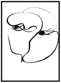 Quadro Decorativo Minimalista Abstrato Curvas Branco e Preto - CZ 44085