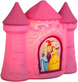 Abajur Luminária De Mesa Para Bebê Infantil Bivolt Led Princesas - Rosa