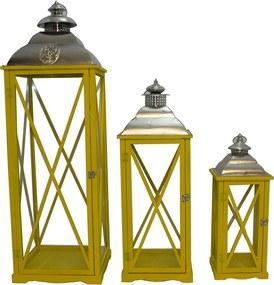 Conjunto de Lanternas Gigantes Biblos Amarela Oldway - 112x36 cm