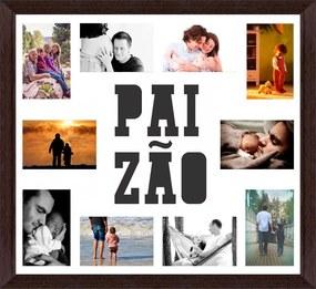 Quadro Painel de Fotos 60x60cm PAIZÃO Branco e Marrom para 10 Fotos 10x15cm