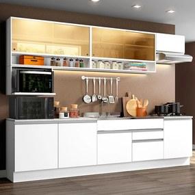 Cozinha Completa Madesa Verona com Armário e Balcão (Sem Tampo e Pia) Branco Cor:Branco