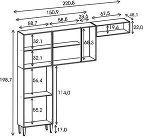 Cozinha Compacta 9 Portas Alfa Top Nogal/Arena - Kit's Paraná