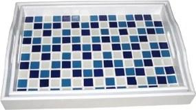 Conjunto de Bandejas de Madeira Branco e Azul 2 peças