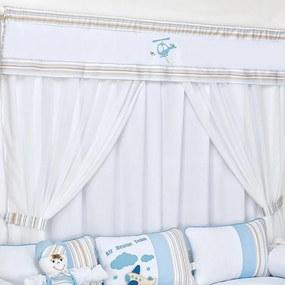 Cortina Quarto de Bebê Avião Azul Listras
