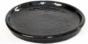 Prato Vietnamita Cerâmica Importada Redondo Preto 41cm