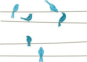 Adesivo Parede Quartinhos Quarto Pássaros Coloridos Azul