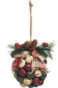 Bola Enfeite Árvore Natal Com Guizos 13cm 1 Peça Colorido