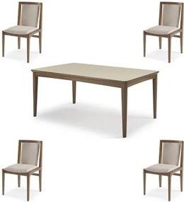 Conjunto Mesa Jantar Mule Tampo Verniz Avela 180cm + 4 Cadeiras Brisa Encosto Estofado - 60512 Sun House