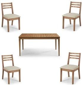 Conjunto Dubai Mesa + Cadeiras Assento Estofado - 60476 Sun House
