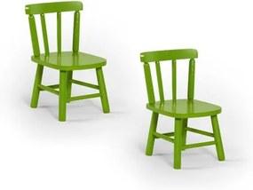 Kit 2 Cadeiras Infantis Torneadas em Madeira Uva Japão/ Tauari com Acabamento em Verniz - Verde