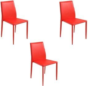 Kit 3 Cadeiras Decorativas Sala e Cozinha Karma PVC Vermelha - Gran Belo
